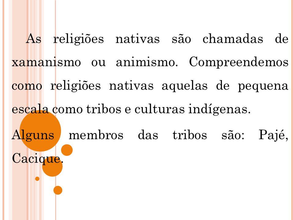 As religiões nativas são chamadas de xamanismo ou animismo. Compreendemos como religiões nativas aquelas de pequena escala como tribos e culturas indí