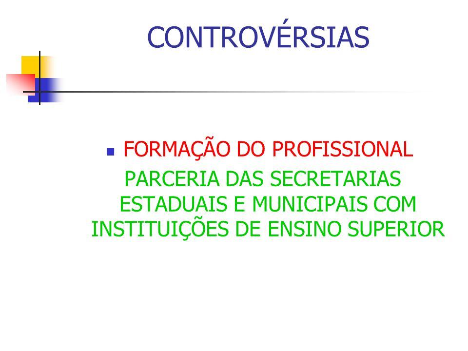 CONTROVÉRSIAS FORMAÇÃO DO PROFISSIONAL PARCERIA DAS SECRETARIAS ESTADUAIS E MUNICIPAIS COM INSTITUIÇÕES DE ENSINO SUPERIOR