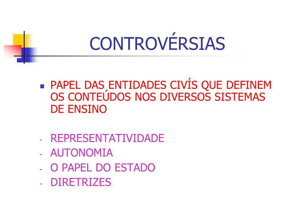 CONTROVÉRSIAS PAPEL DAS ENTIDADES CIVÍS QUE DEFINEM OS CONTEÚDOS NOS DIVERSOS SISTEMAS DE ENSINO - REPRESENTATIVIDADE - AUTONOMIA - O PAPEL DO ESTADO