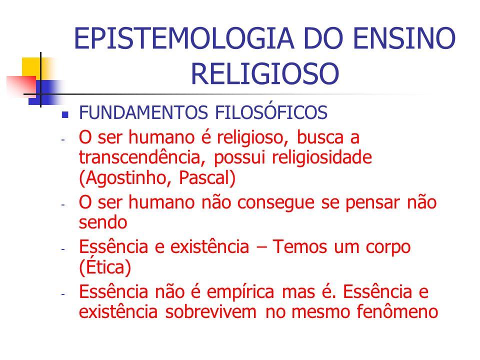 EPISTEMOLOGIA DO ENSINO RELIGIOSO FUNDAMENTOS FILOSÓFICOS - O ser humano é religioso, busca a transcendência, possui religiosidade (Agostinho, Pascal)