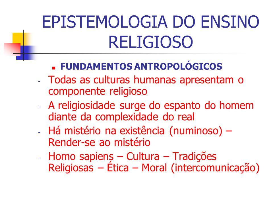 EPISTEMOLOGIA DO ENSINO RELIGIOSO FUNDAMENTOS ANTROPOLÓGICOS - Todas as culturas humanas apresentam o componente religioso - A religiosidade surge do