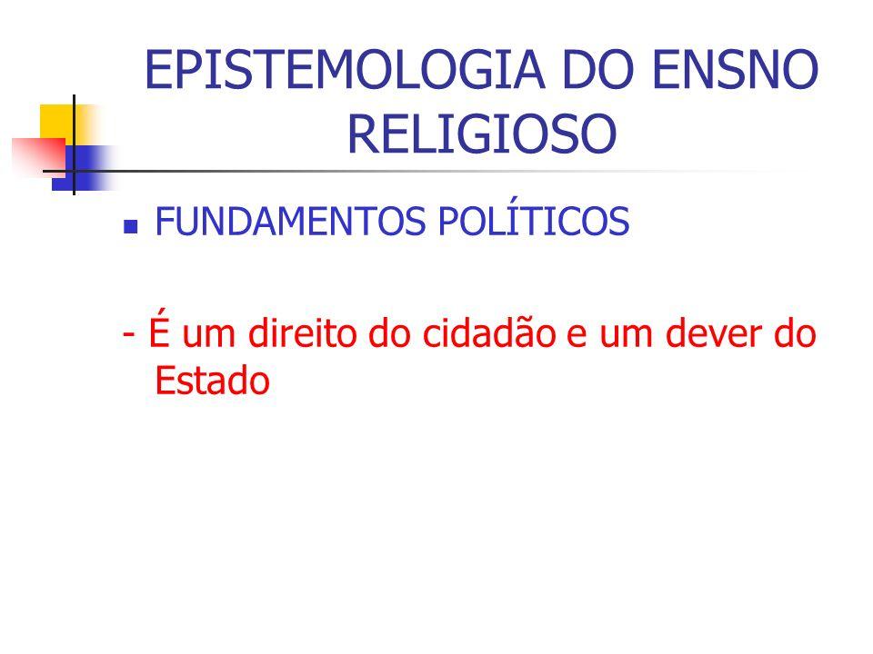 EPISTEMOLOGIA DO ENSNO RELIGIOSO FUNDAMENTOS POLÍTICOS - É um direito do cidadão e um dever do Estado