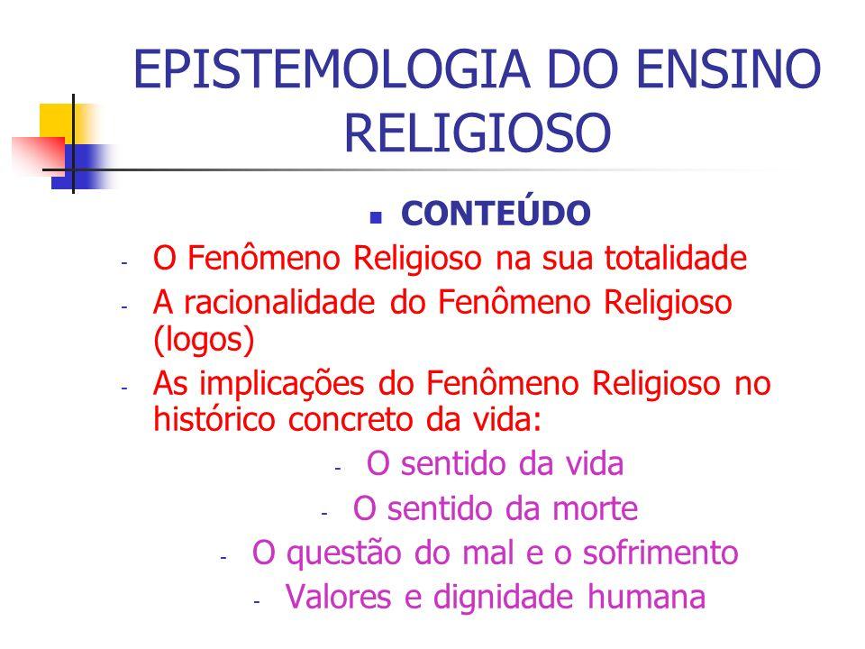 EPISTEMOLOGIA DO ENSINO RELIGIOSO CONTEÚDO - O Fenômeno Religioso na sua totalidade - A racionalidade do Fenômeno Religioso (logos) - As implicações d