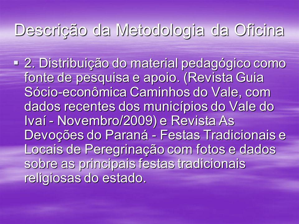 Descrição da Metodologia da Oficina 2. Distribuição do material pedagógico como fonte de pesquisa e apoio. (Revista Guia Sócio-econômica Caminhos do V