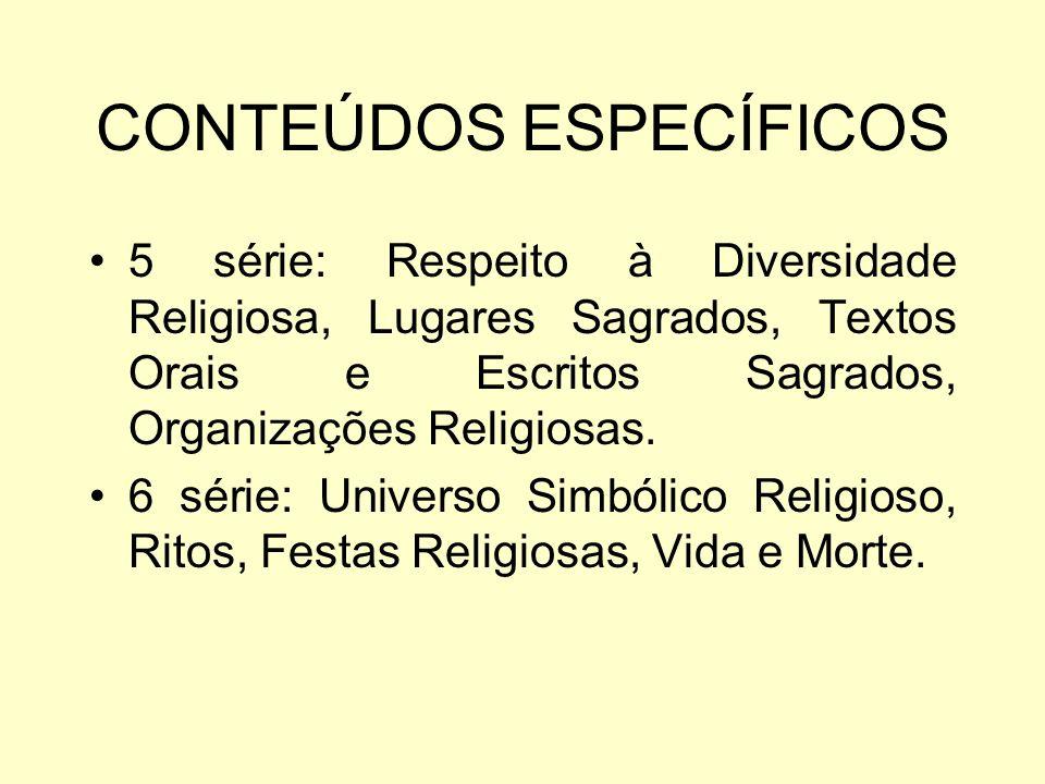 CONTEÚDOS ESPECÍFICOS 5 série: Respeito à Diversidade Religiosa, Lugares Sagrados, Textos Orais e Escritos Sagrados, Organizações Religiosas.