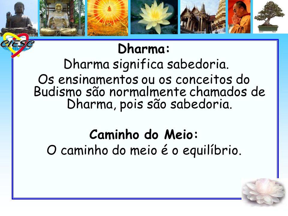 Dharma: Dharma significa sabedoria. Os ensinamentos ou os conceitos do Budismo são normalmente chamados de Dharma, pois são sabedoria. Caminho do Meio