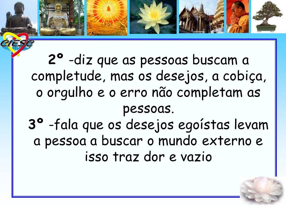 2º -diz que as pessoas buscam a completude, mas os desejos, a cobiça, o orgulho e o erro não completam as pessoas. 3º -fala que os desejos egoístas le