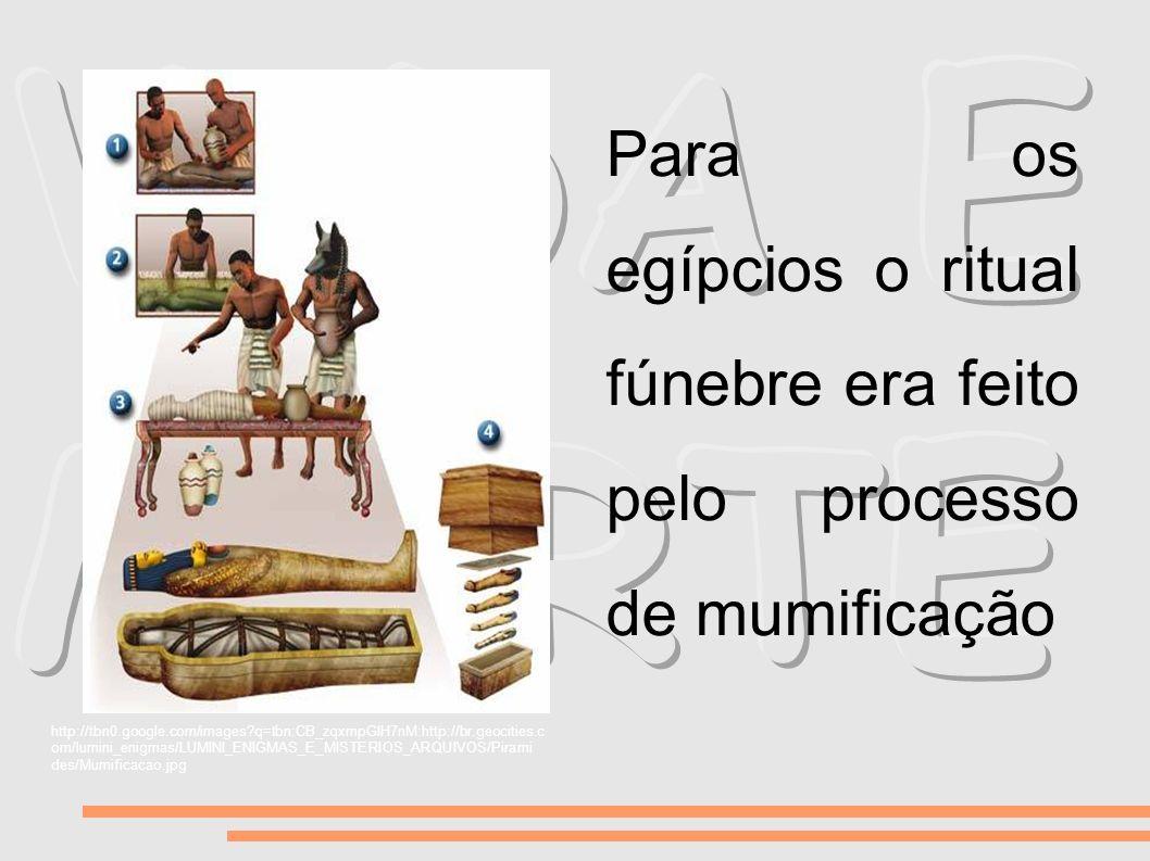 Para os egípcios o ritual fúnebre era feito pelo processo de mumificação http://tbn0.google.com/images?q=tbn:CB_zqxmpGIH7nM:http://br.geocities.c om/l