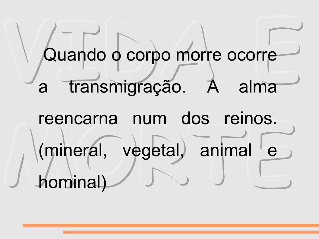 Quando o corpo morre ocorre a transmigração. A alma reencarna num dos reinos. (mineral, vegetal, animal e hominal)