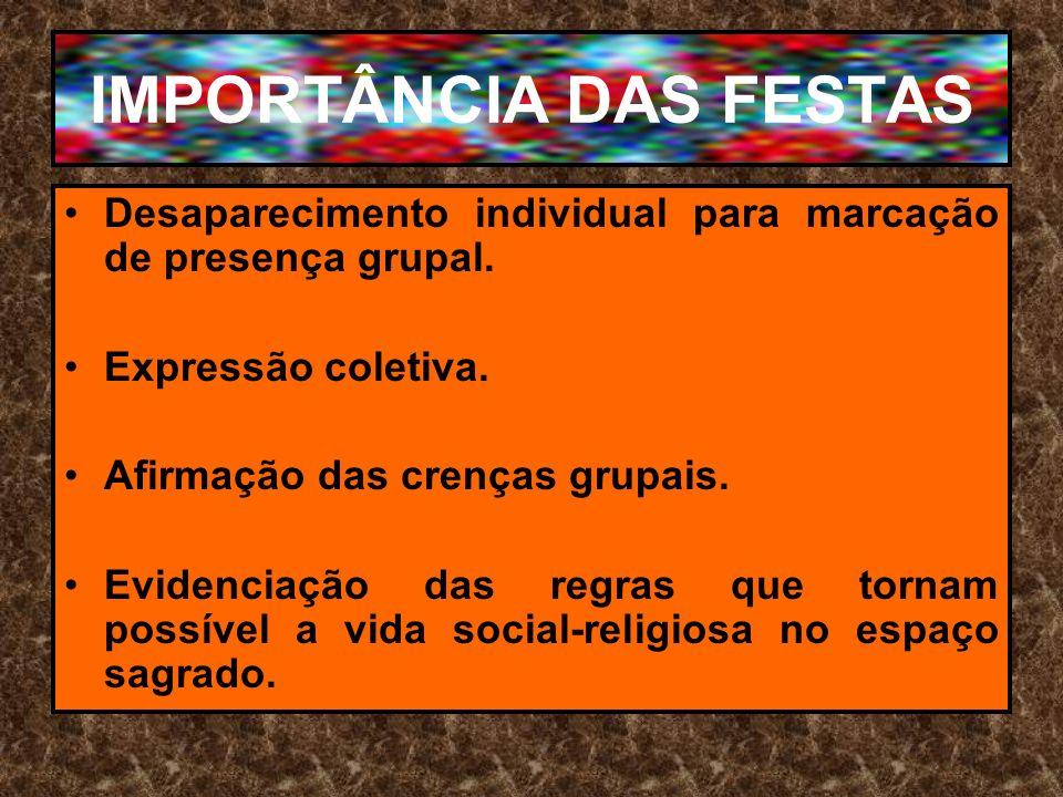 IMPORTÂNCIA DAS FESTAS Desaparecimento individual para marcação de presença grupal. Expressão coletiva. Afirmação das crenças grupais. Evidenciação da