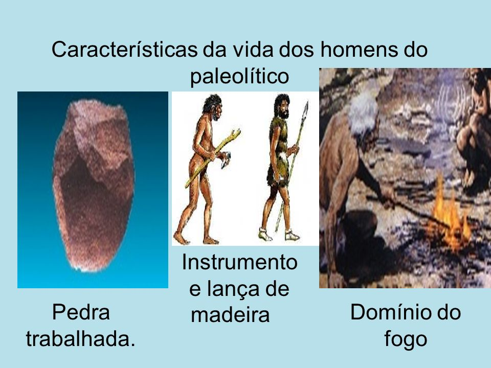 Características da vida dos homens do paleolítico Pedra trabalhada. Instrumento e lança de madeira Domínio do fogo