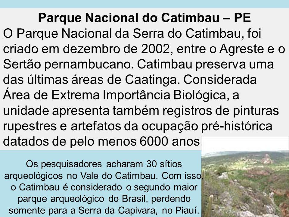 Parque Nacional do Catimbau – PE O Parque Nacional da Serra do Catimbau, foi criado em dezembro de 2002, entre o Agreste e o Sertão pernambucano. Cati