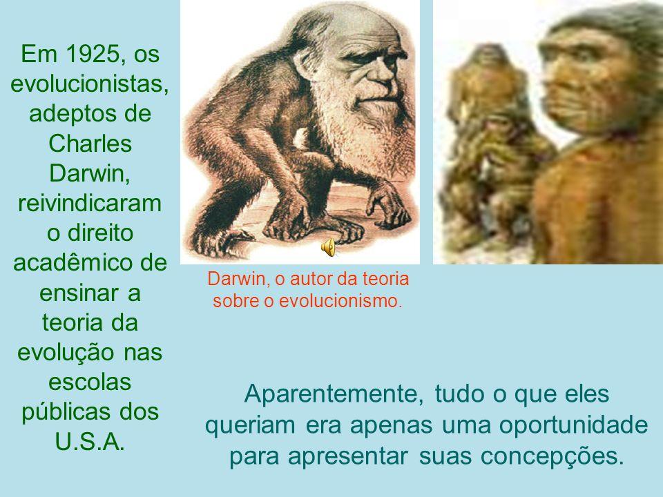 Aparentemente, tudo o que eles queriam era apenas uma oportunidade para apresentar suas concepções. Darwin, o autor da teoria sobre o evolucionismo. E