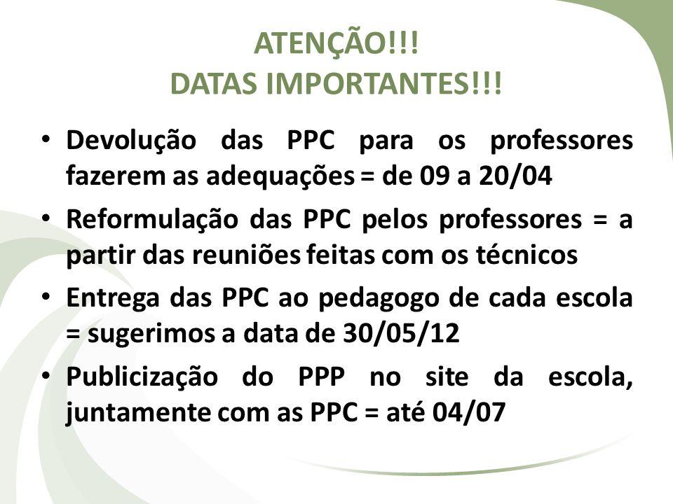 ATENÇÃO!!! DATAS IMPORTANTES!!! Devolução das PPC para os professores fazerem as adequações = de 09 a 20/04 Reformulação das PPC pelos professores = a