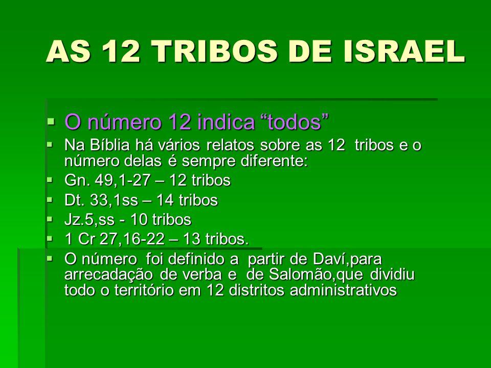 AS 12 TRIBOS DE ISRAEL O número 12 indica todos O número 12 indica todos Na Bíblia há vários relatos sobre as 12 tribos e o número delas é sempre dife