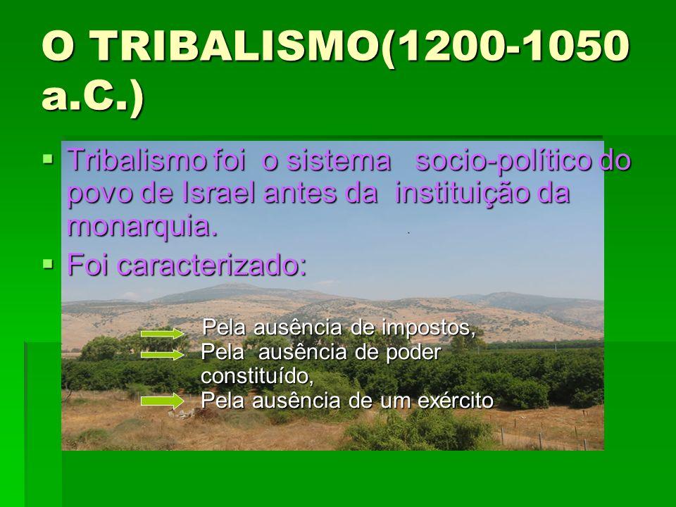 O TRIBALISMO(1200-1050 a.C.) Tribalismo foi o sistema socio-político do povo de Israel antes da instituição da monarquia. Tribalismo foi o sistema soc