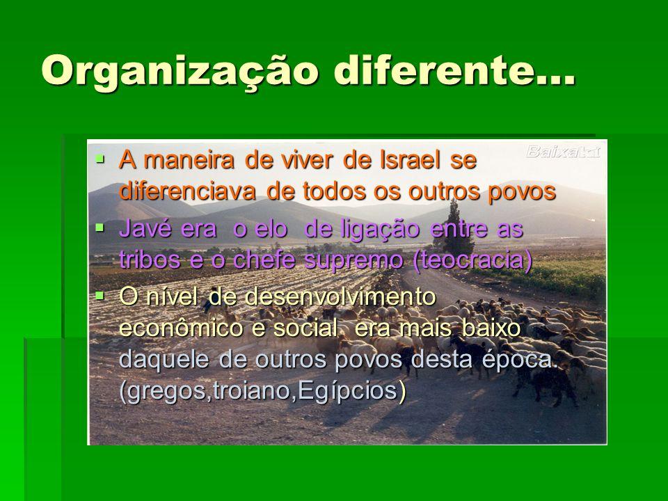 Organização diferente... A maneira de viver de Israel se diferenciava de todos os outros povos A maneira de viver de Israel se diferenciava de todos o