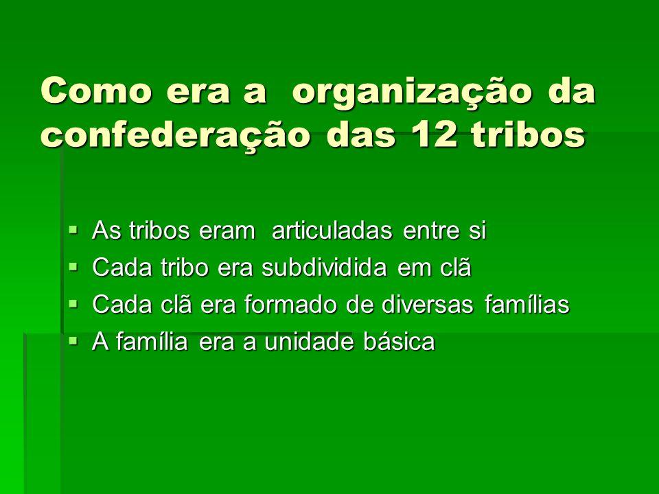 Como era a organização da confederação das 12 tribos As tribos eram articuladas entre si As tribos eram articuladas entre si Cada tribo era subdividid