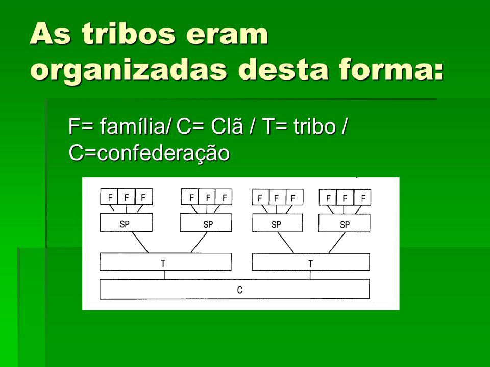 As tribos eram organizadas desta forma: F= família/ C= Clã / T= tribo / C=confederação F= família/ C= Clã / T= tribo / C=confederação