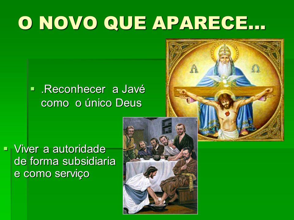 O NOVO QUE APARECE....Reconhecer a Javé como o único Deus.Reconhecer a Javé como o único Deus Viver a autoridade de forma subsidiaria e como serviço V