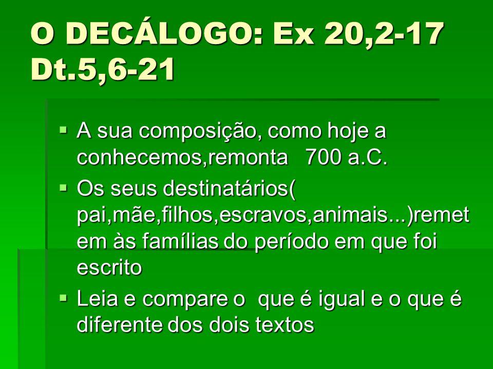 O DECÁLOGO: Ex 20,2-17 Dt.5,6-21 A sua composição, como hoje a conhecemos,remonta 700 a.C. A sua composição, como hoje a conhecemos,remonta 700 a.C. O