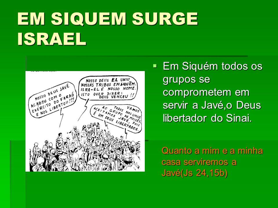 EM SIQUEM SURGE ISRAEL Em Siquém todos os grupos se comprometem em servir a Javé,o Deus libertador do Sinai. Em Siquém todos os grupos se comprometem