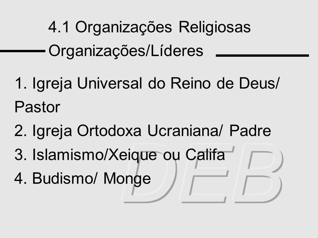 4.1 Organizações Religiosas Organizações/Líderes 1. Igreja Universal do Reino de Deus/ Pastor 2. Igreja Ortodoxa Ucraniana/ Padre 3. Islamismo/Xeique