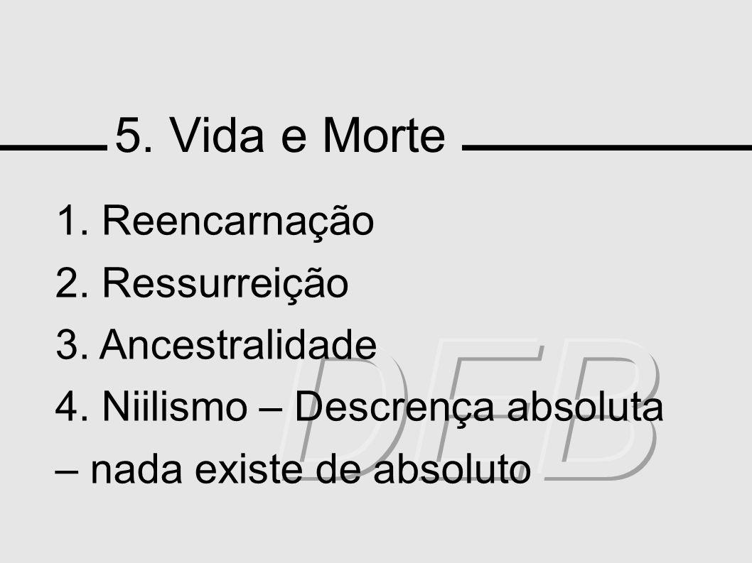 5. Vida e Morte 1. Reencarnação 2. Ressurreição 3. Ancestralidade 4. Niilismo – Descrença absoluta – nada existe de absoluto