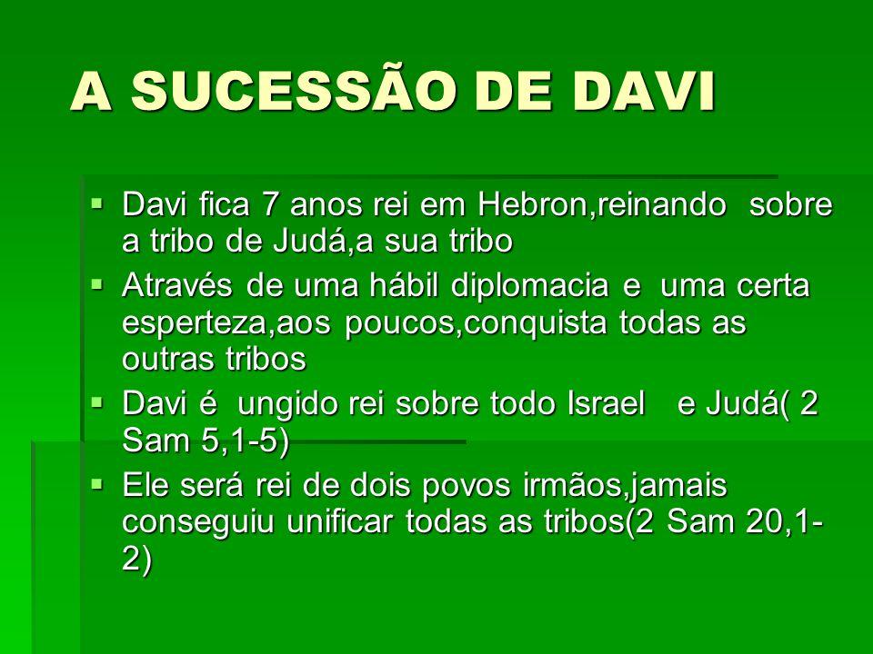 A SUCESSÃO DE DAVI A SUCESSÃO DE DAVI Davi fica 7 anos rei em Hebron,reinando sobre a tribo de Judá,a sua tribo Davi fica 7 anos rei em Hebron,reinando sobre a tribo de Judá,a sua tribo Através de uma hábil diplomacia e uma certa esperteza,aos poucos,conquista todas as outras tribos Através de uma hábil diplomacia e uma certa esperteza,aos poucos,conquista todas as outras tribos Davi é ungido rei sobre todo Israel e Judá( 2 Sam 5,1-5) Davi é ungido rei sobre todo Israel e Judá( 2 Sam 5,1-5) Ele será rei de dois povos irmãos,jamais conseguiu unificar todas as tribos(2 Sam 20,1- 2) Ele será rei de dois povos irmãos,jamais conseguiu unificar todas as tribos(2 Sam 20,1- 2)