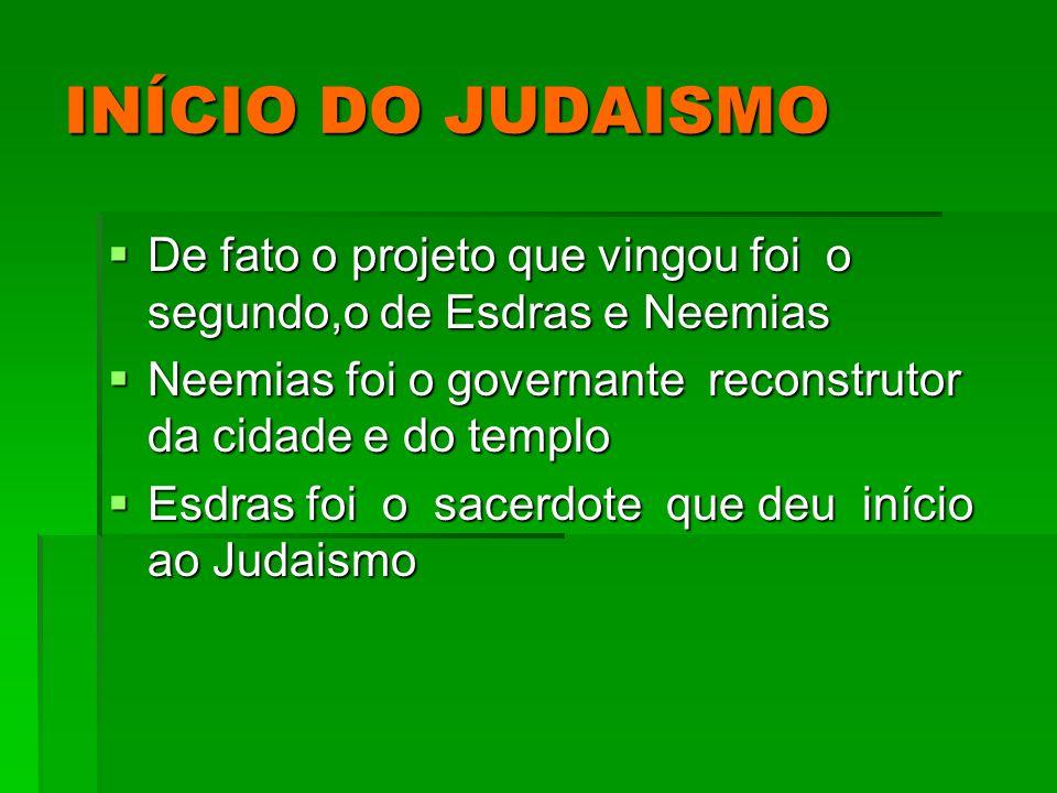 INÍCIO DO JUDAISMO De fato o projeto que vingou foi o segundo,o de Esdras e Neemias De fato o projeto que vingou foi o segundo,o de Esdras e Neemias N