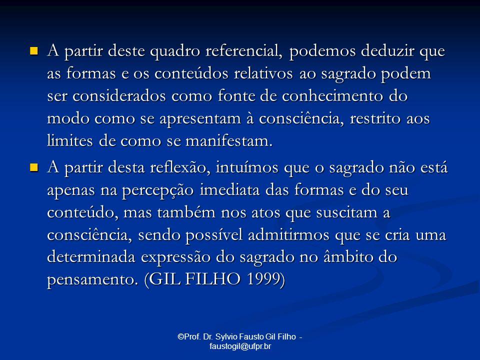©Prof. Dr. Sylvio Fausto Gil Filho - faustogil@ufpr.br A partir deste quadro referencial, podemos deduzir que as formas e os conteúdos relativos ao sa