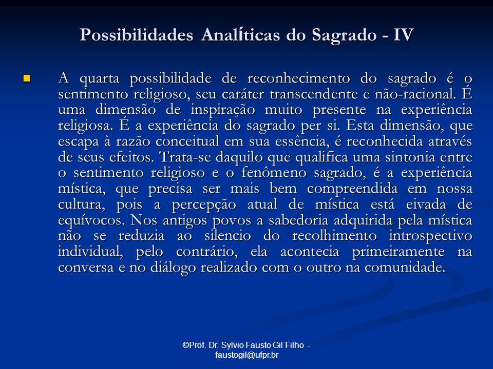 ©Prof. Dr. Sylvio Fausto Gil Filho - faustogil@ufpr.br A quarta possibilidade de reconhecimento do sagrado é o sentimento religioso, seu caráter trans
