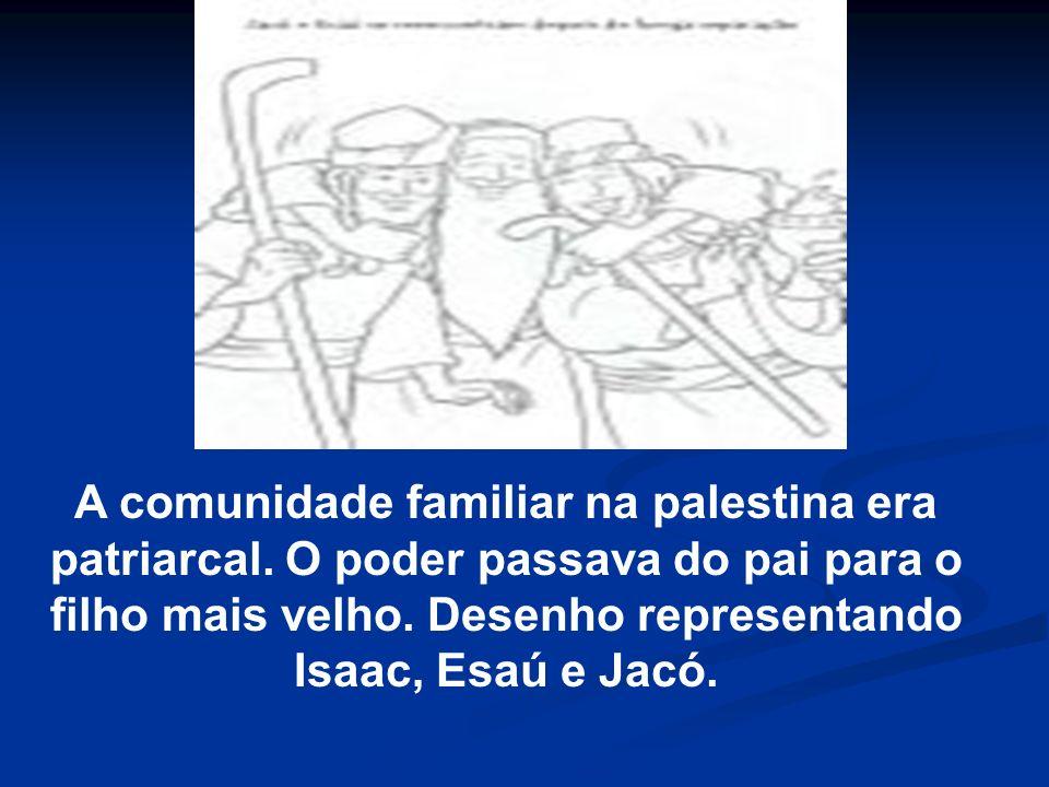 A comunidade familiar na palestina era patriarcal. O poder passava do pai para o filho mais velho. Desenho representando Isaac, Esaú e Jacó.
