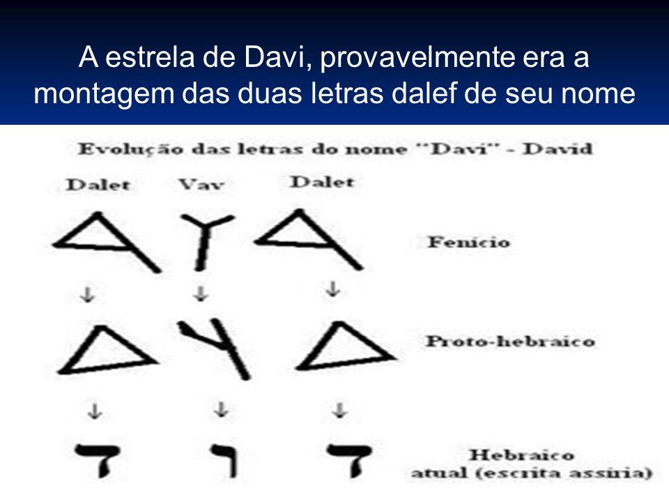 A estrela de Davi, provavelmente era a montagem das duas letras dalef de seu nome
