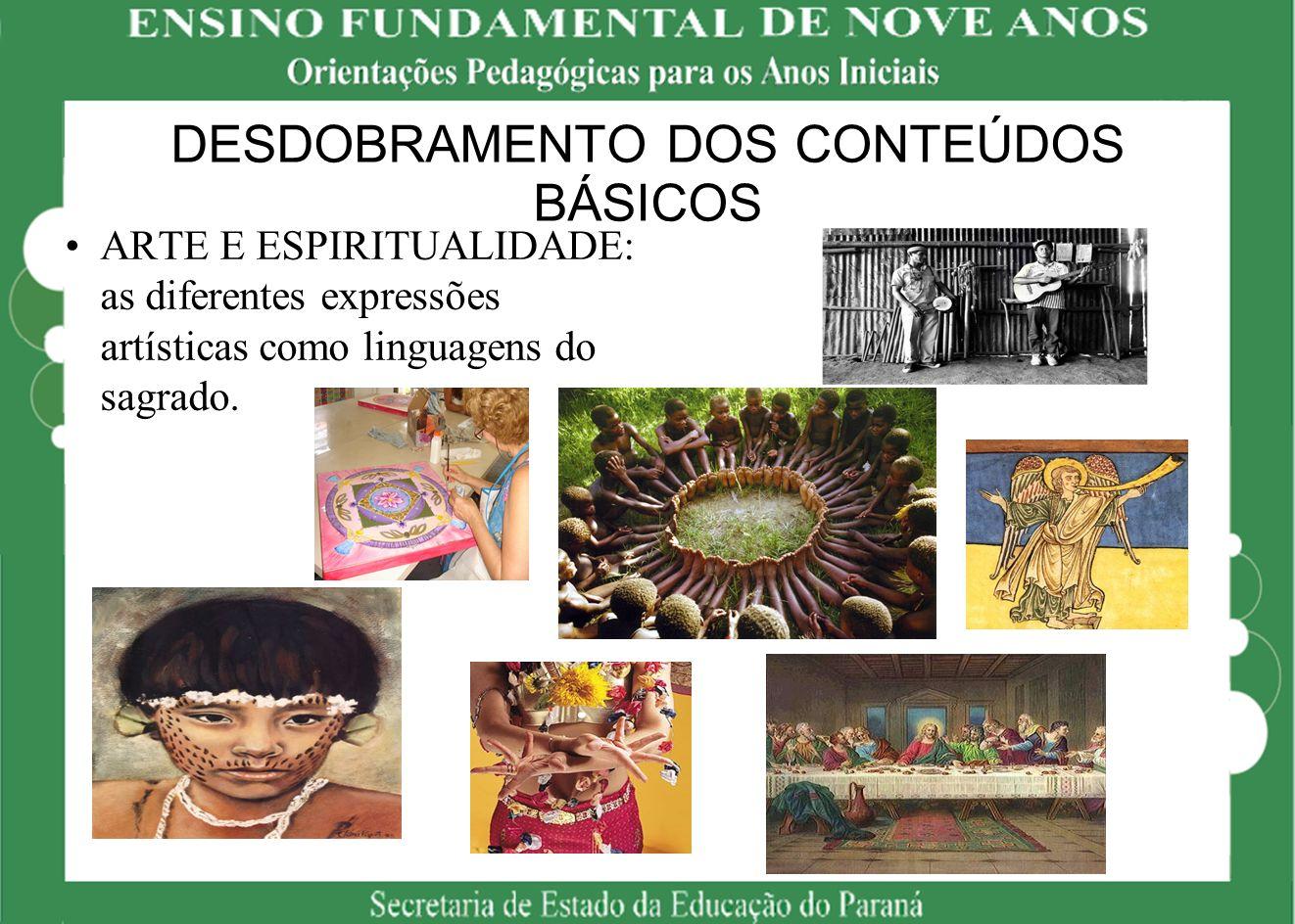 DESDOBRAMENTO DOS CONTEÚDOS BÁSICOS ARTE E ESPIRITUALIDADE: as diferentes expressões artísticas como linguagens do sagrado.