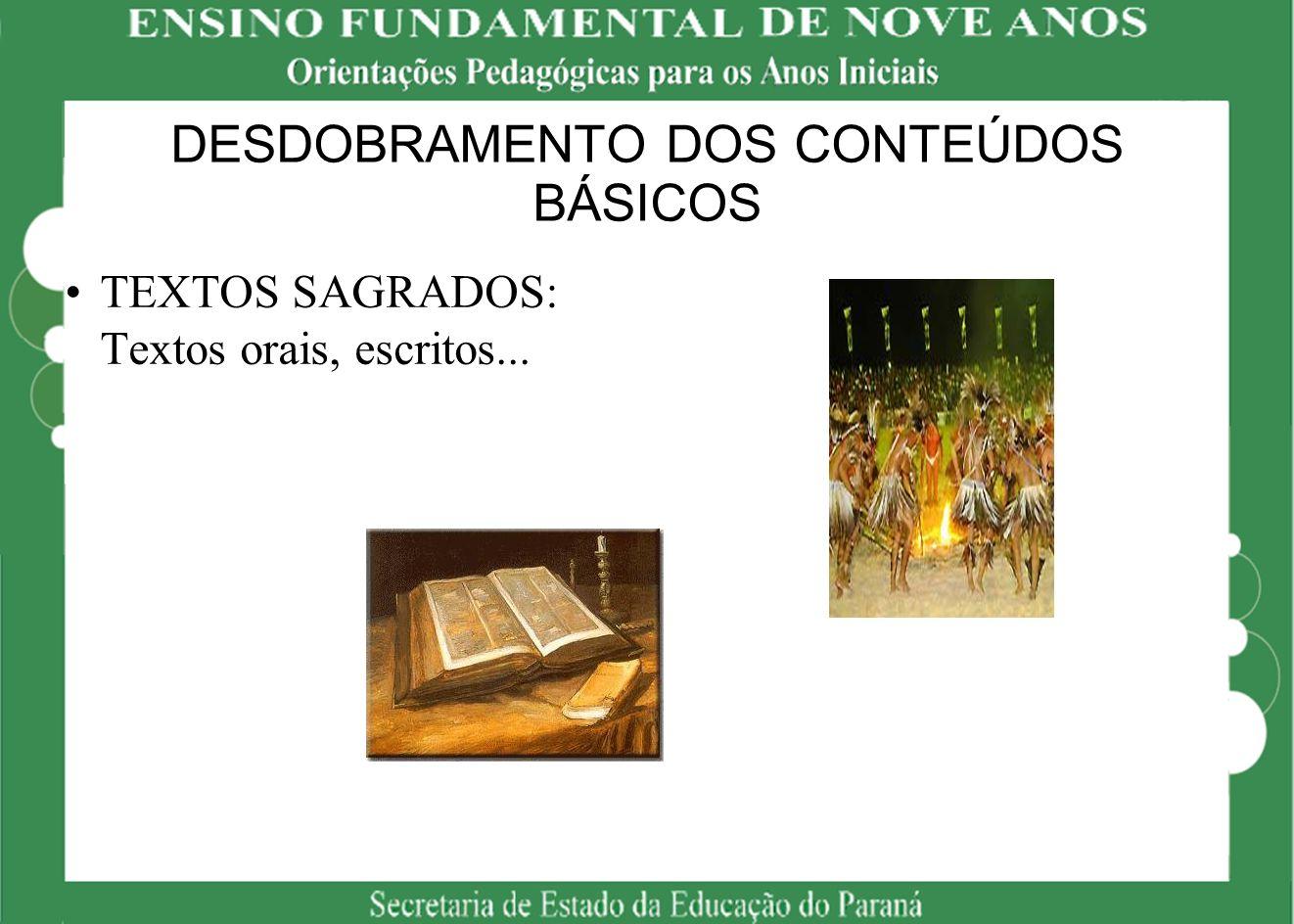 DESDOBRAMENTO DOS CONTEÚDOS BÁSICOS TEXTOS SAGRADOS: Textos orais, escritos...