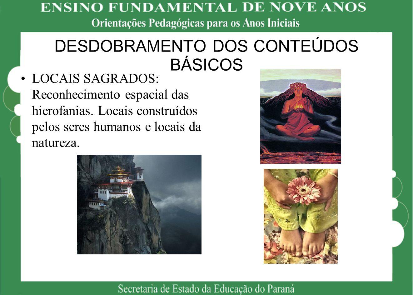 DESDOBRAMENTO DOS CONTEÚDOS BÁSICOS LOCAIS SAGRADOS: Reconhecimento espacial das hierofanias. Locais construídos pelos seres humanos e locais da natur