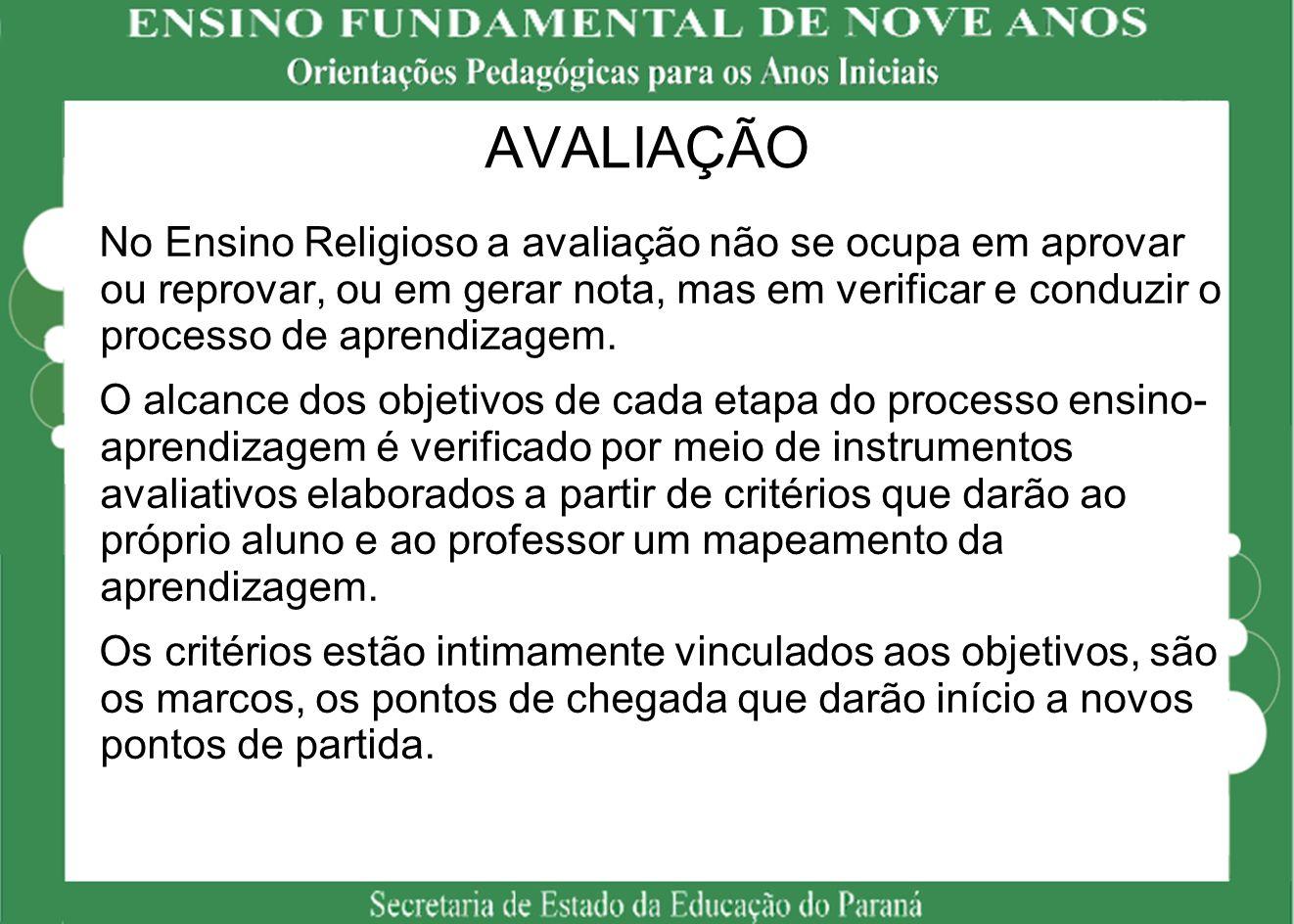 AVALIAÇÃO No Ensino Religioso a avaliação não se ocupa em aprovar ou reprovar, ou em gerar nota, mas em verificar e conduzir o processo de aprendizage