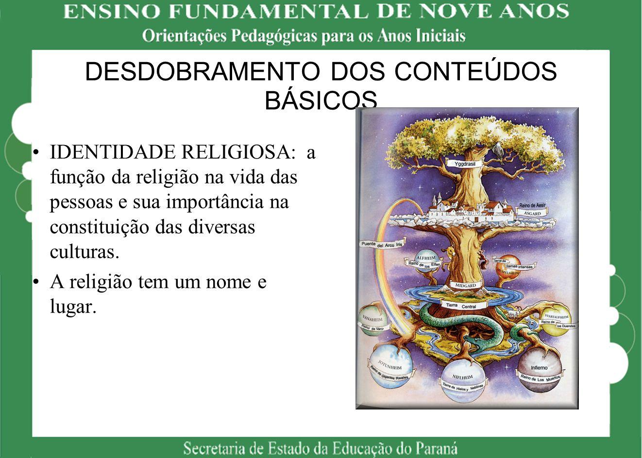 DESDOBRAMENTO DOS CONTEÚDOS BÁSICOS IDENTIDADE RELIGIOSA: a função da religião na vida das pessoas e sua importância na constituição das diversas cult