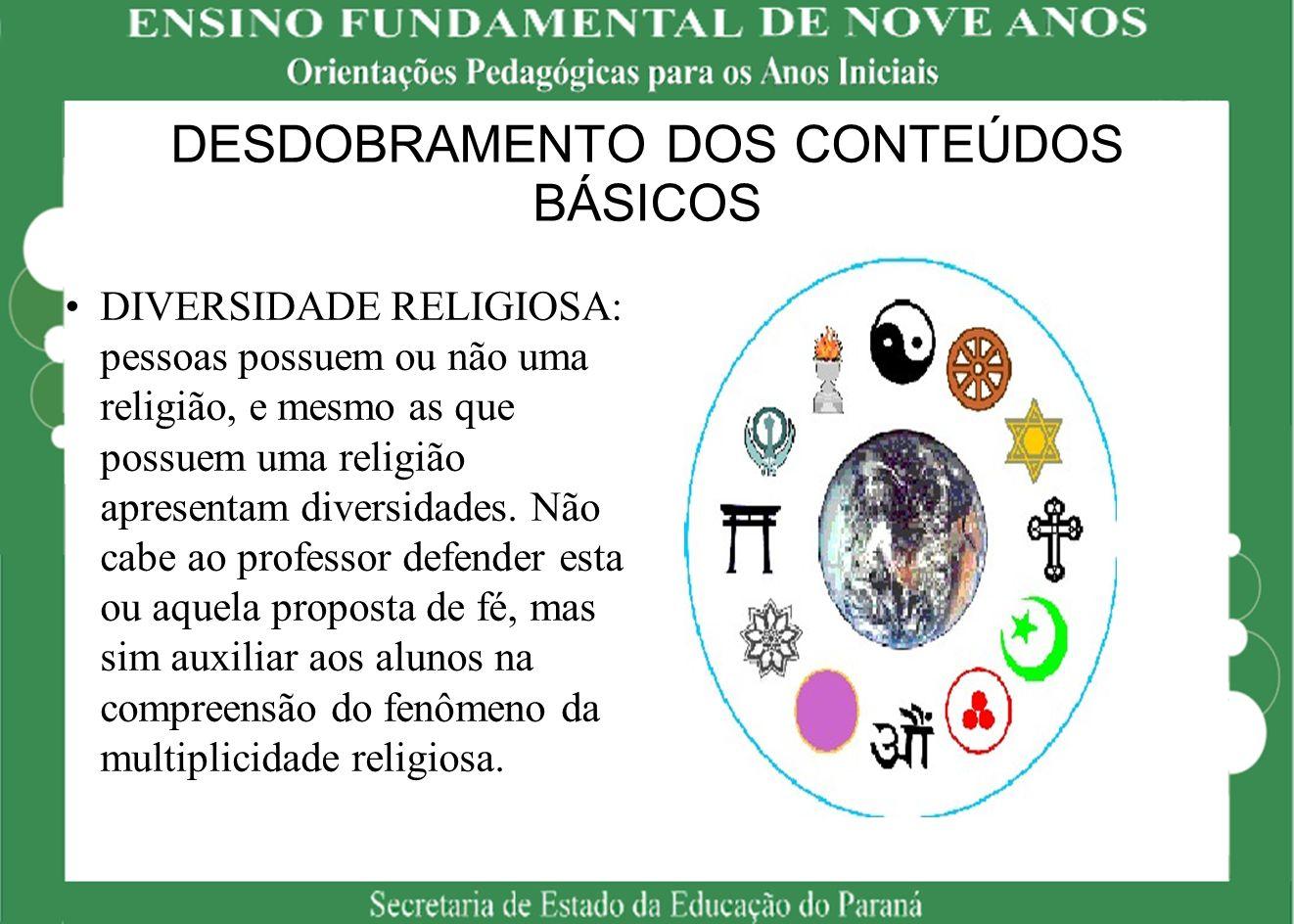 DESDOBRAMENTO DOS CONTEÚDOS BÁSICOS DIVERSIDADE RELIGIOSA: pessoas possuem ou não uma religião, e mesmo as que possuem uma religião apresentam diversi