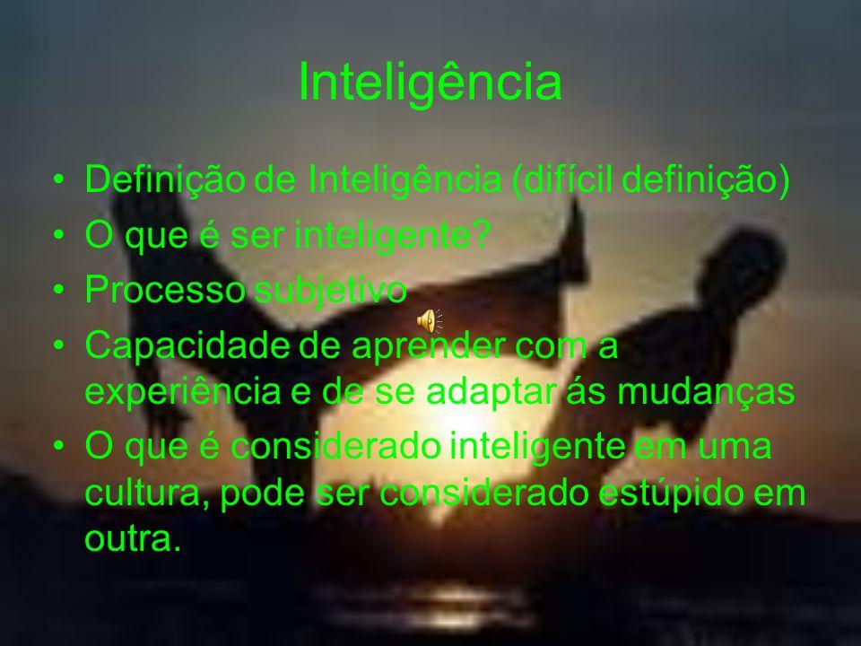 Inteligência Definição de Inteligência (difícil definição) O que é ser inteligente? Processo subjetivo Capacidade de aprender com a experiência e de s