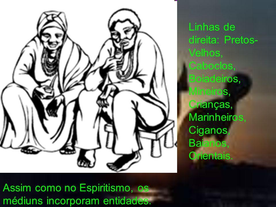 Assim como no Espiritismo, os médiuns incorporam entidades. Linhas de direita: Pretos- Velhos, Caboclos, Boiadeiros, Mineiros, Crianças, Marinheiros,