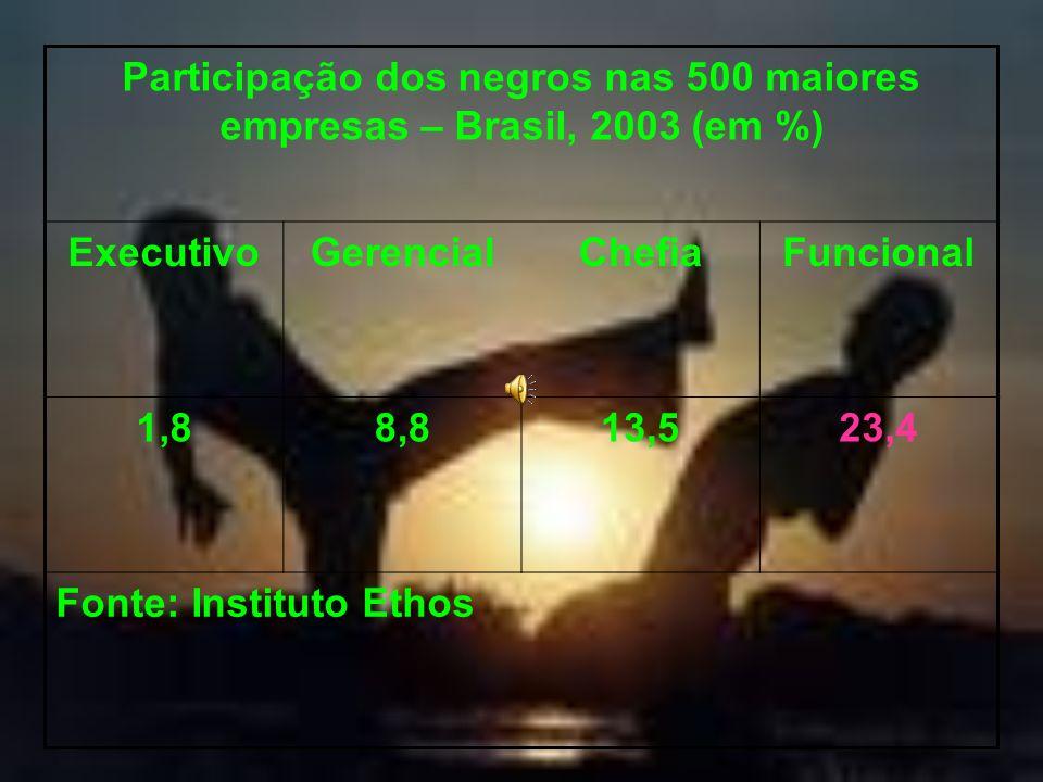 Participação dos negros nas 500 maiores empresas – Brasil, 2003 (em %) ExecutivoGerencialChefiaFuncional 1,88,813,523,4 Fonte: Instituto Ethos