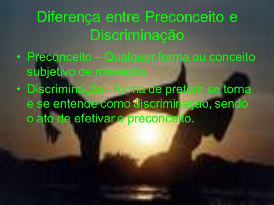 Diferença entre Preconceito e Discriminação Preconceito – Qualquer forma ou conceito subjetivo de rotulação Discriminação - forma de preterir se torna