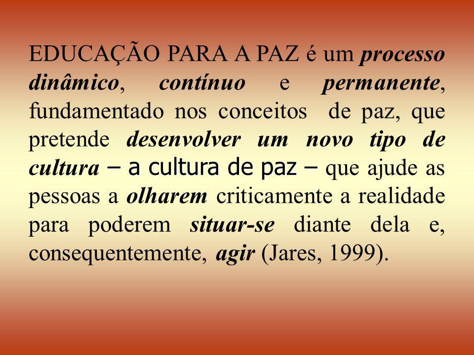 – a cultura de paz – EDUCAÇÃO PARA A PAZ é um processo dinâmico, contínuo e permanente, fundamentado nos conceitos de paz, que pretende desenvolver um