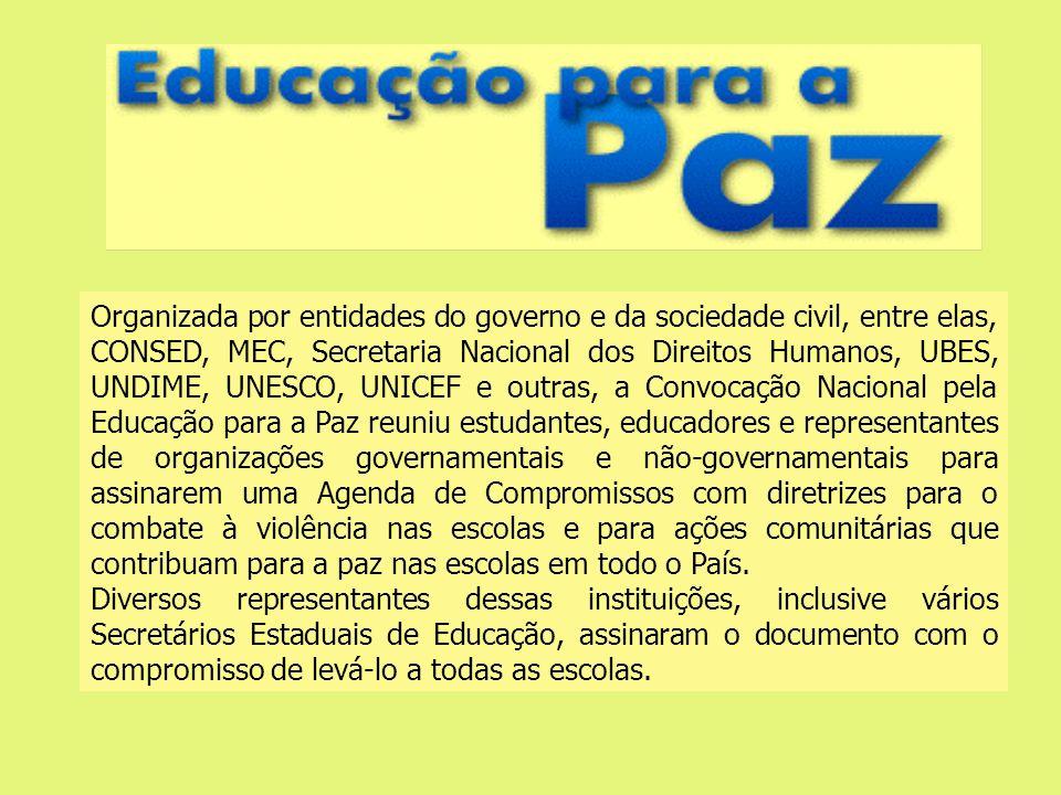 Organizada por entidades do governo e da sociedade civil, entre elas, CONSED, MEC, Secretaria Nacional dos Direitos Humanos, UBES, UNDIME, UNESCO, UNI