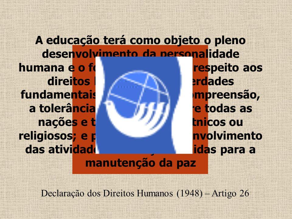 A educação terá como objeto o pleno desenvolvimento da personalidade humana e o fortalecimento do respeito aos direitos humanos e às liberdades fundam