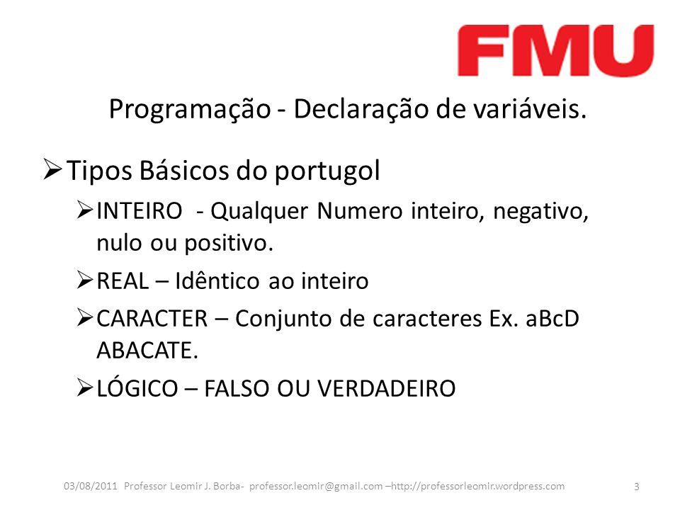 Programação - Declaração de variáveis. Tipos Básicos do portugol INTEIRO - Qualquer Numero inteiro, negativo, nulo ou positivo. REAL – Idêntico ao int