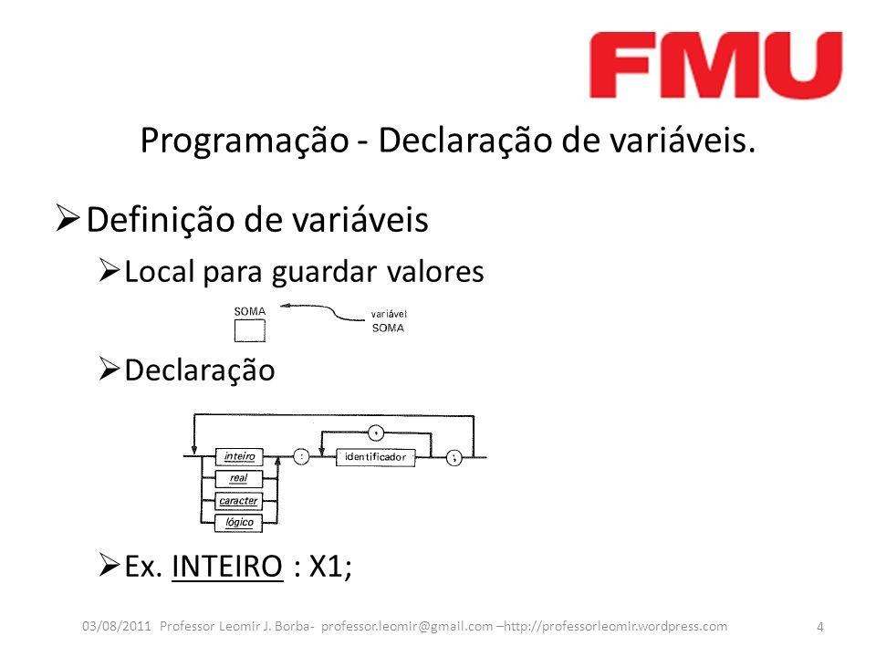 Programação - Declaração de variáveis. Definição de variáveis Local para guardar valores Declaração Ex. INTEIRO : X1; 4 03/08/2011 Professor Leomir J.
