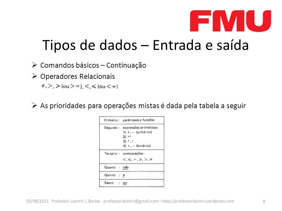Tipos de dados – Entrada e saída Comandos básicos – Continuação Operadores Relacionais As prioridades para operações mistas é dada pela tabela a segui